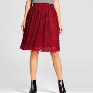 Xhilaration Women's Lace Midi Skirt XL in Berry